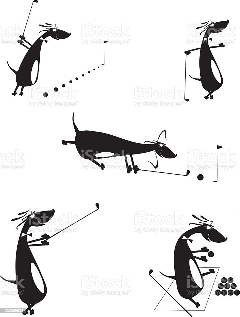 Comic dogs are playing golf vector art illustration