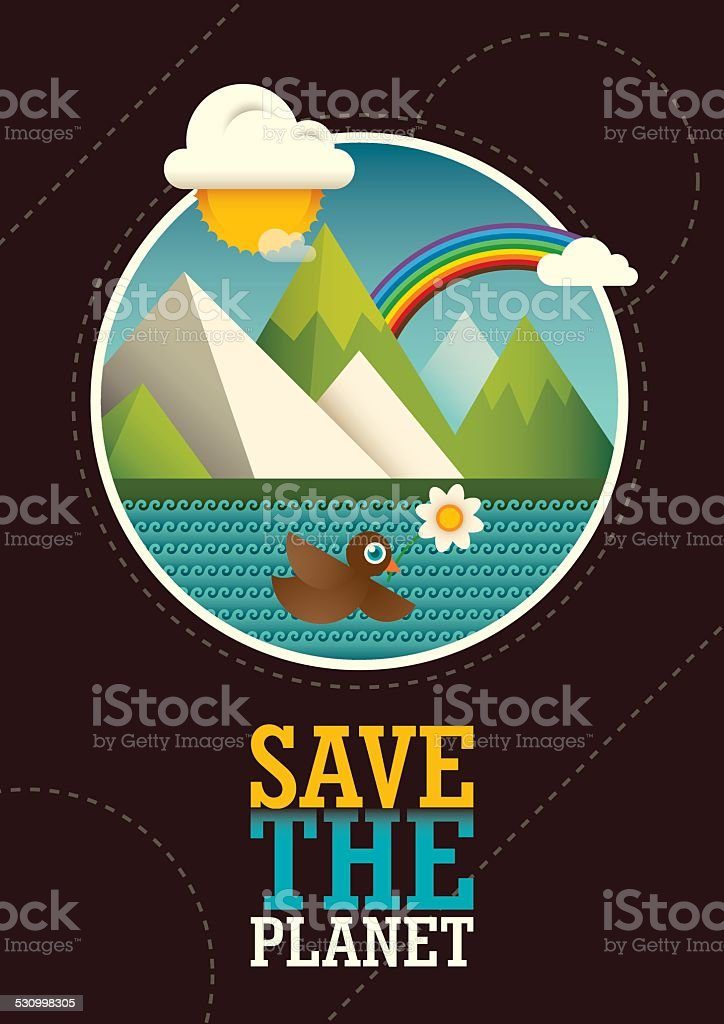Comic ecology poster design. vector art illustration