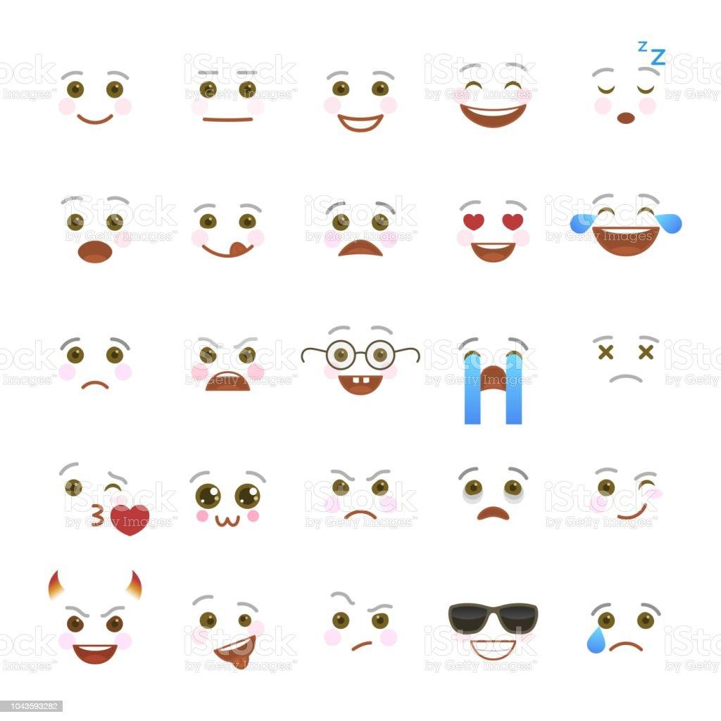 Comic Emoji Symbols For Internet Chatting Stock Vector Art More