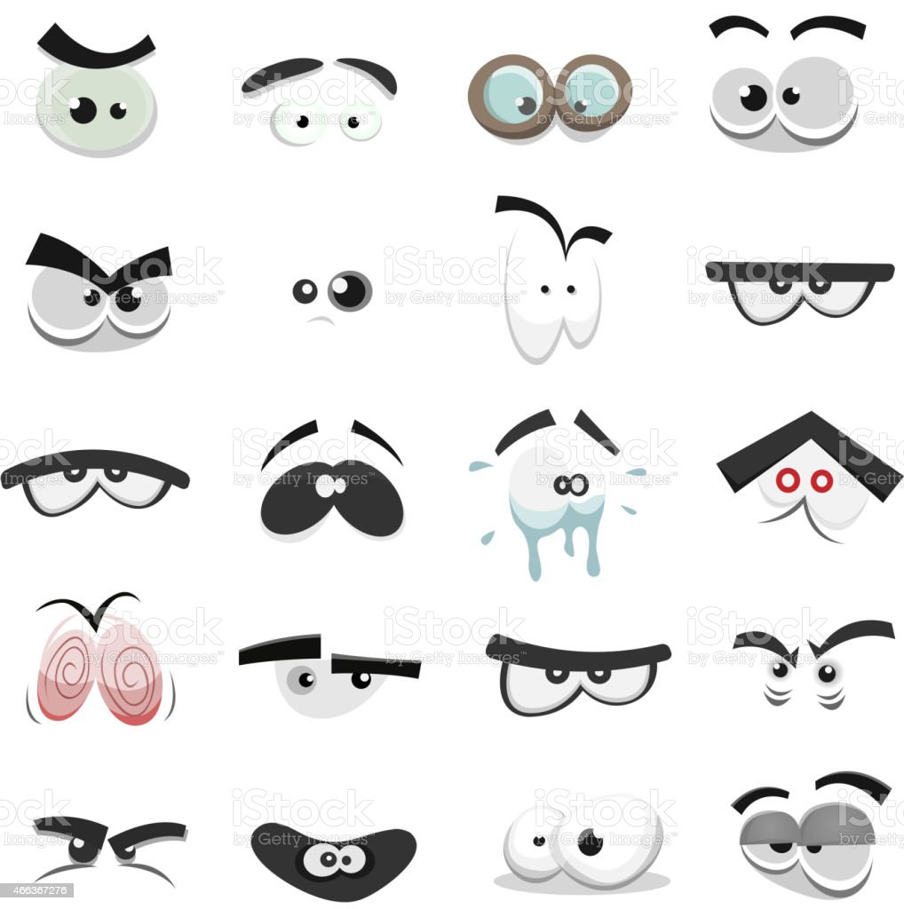 Comic Eyes Set vector art illustration