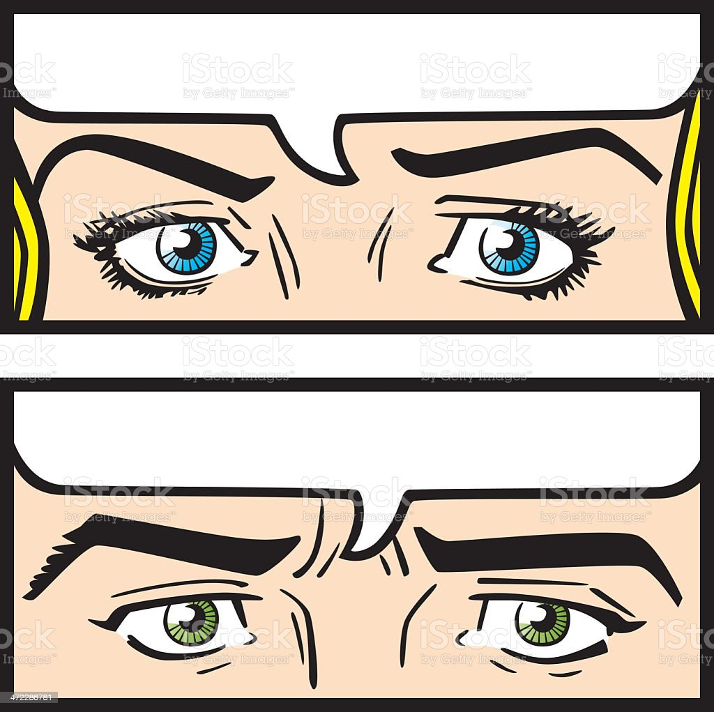 Comic Eyes vector art illustration