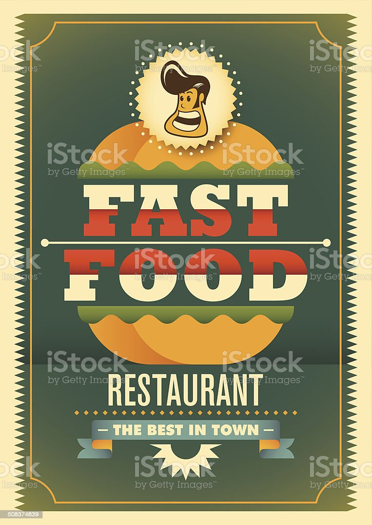 Comic fast food poster. royalty-free stock vector art