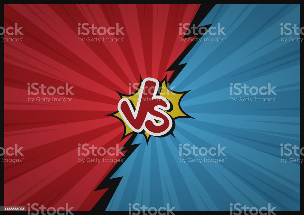 Comic Fighting Cartoon Backgroundblue Vs Red Vector Illustration Design Stock Illustration Download Image Now Istock