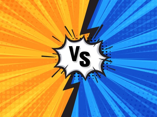 stockillustraties, clipart, cartoons en iconen met comic fighting cartoon achtergrond. blauw vs geel. vector illustratie. - mot
