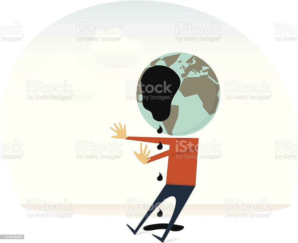 Comic figure with globe head blinded by an oil spill royalty-free stock vector art