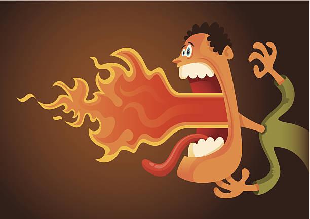 illustrazioni stock, clip art, cartoni animati e icone di tendenza di fumetto di fuoco di respirazione uomo. - lingua umana