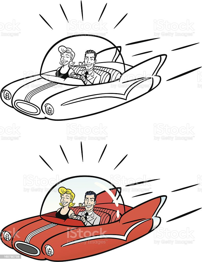 Comic Flying Car vector art illustration