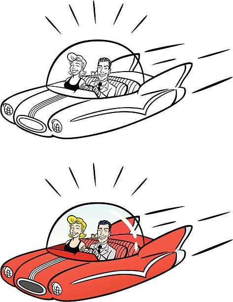 Comic Flying Car vector art illustration