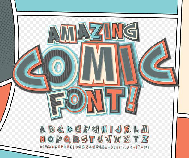 漫画フォント、アルファベットます。コミックブック、ポップアート - 漫画の子供たち点のイラスト素材/クリップアート素材/マンガ素材/アイコン素材