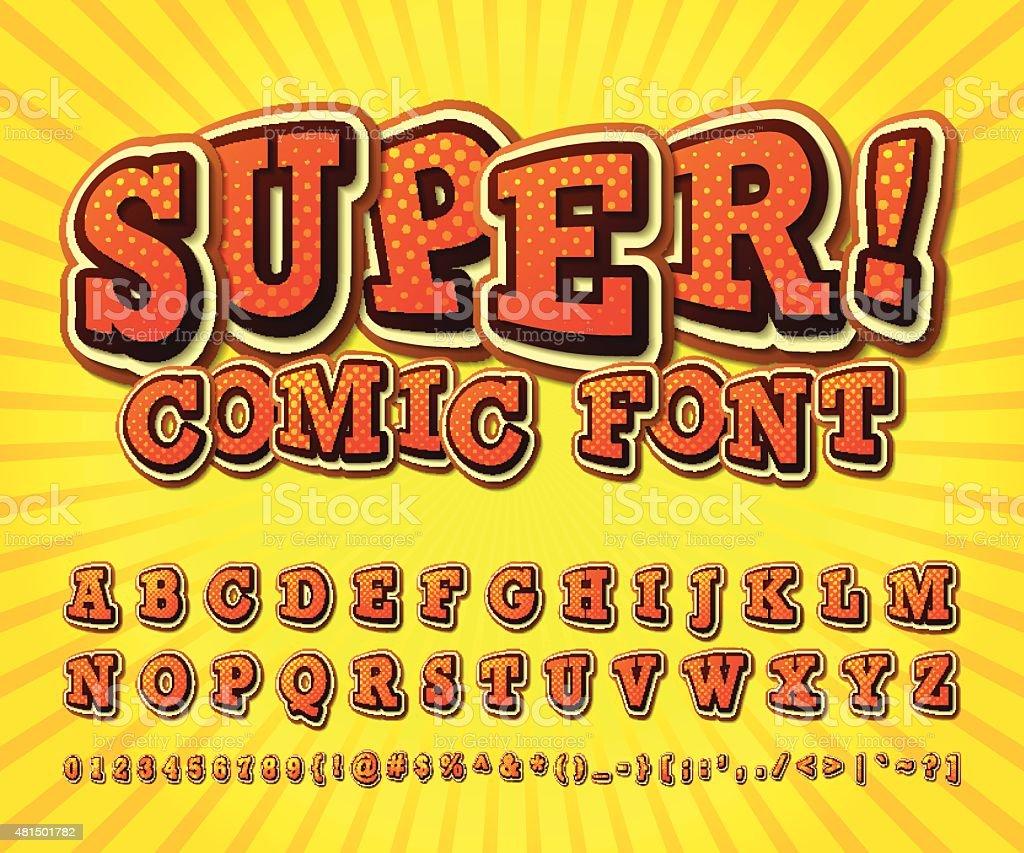 漫画フォントます。アルファベットスタイルのコミック、ポップアート ベクターアートイラスト