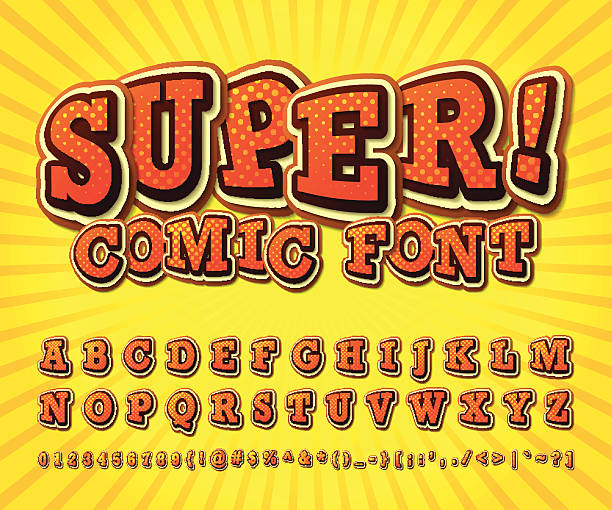 stockillustraties, clipart, cartoons en iconen met comic font. alphabet in style of comics, pop art - westers schrift