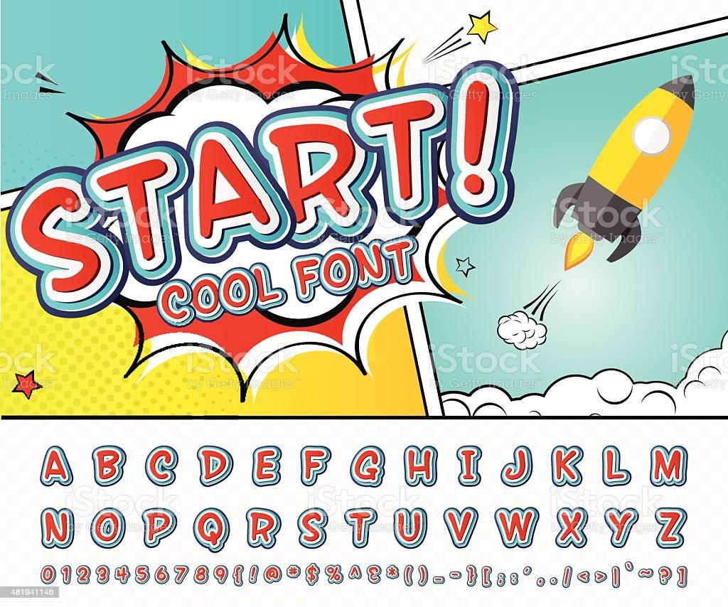 Comic Schriftart Alphabet Im Stil Der Pop Comics Art Stock Vektor ...