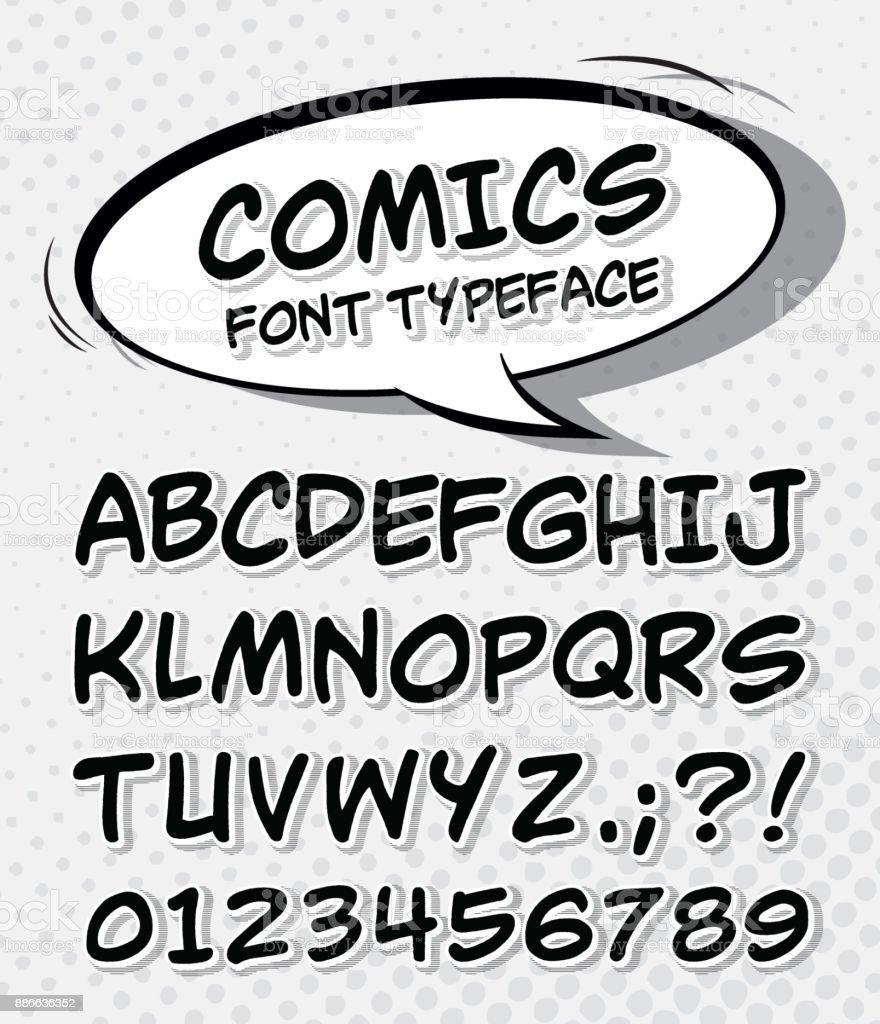 Comic Schriftart Alphabet Im Stil Der Pop Comics Kunst Stock Vektor ...
