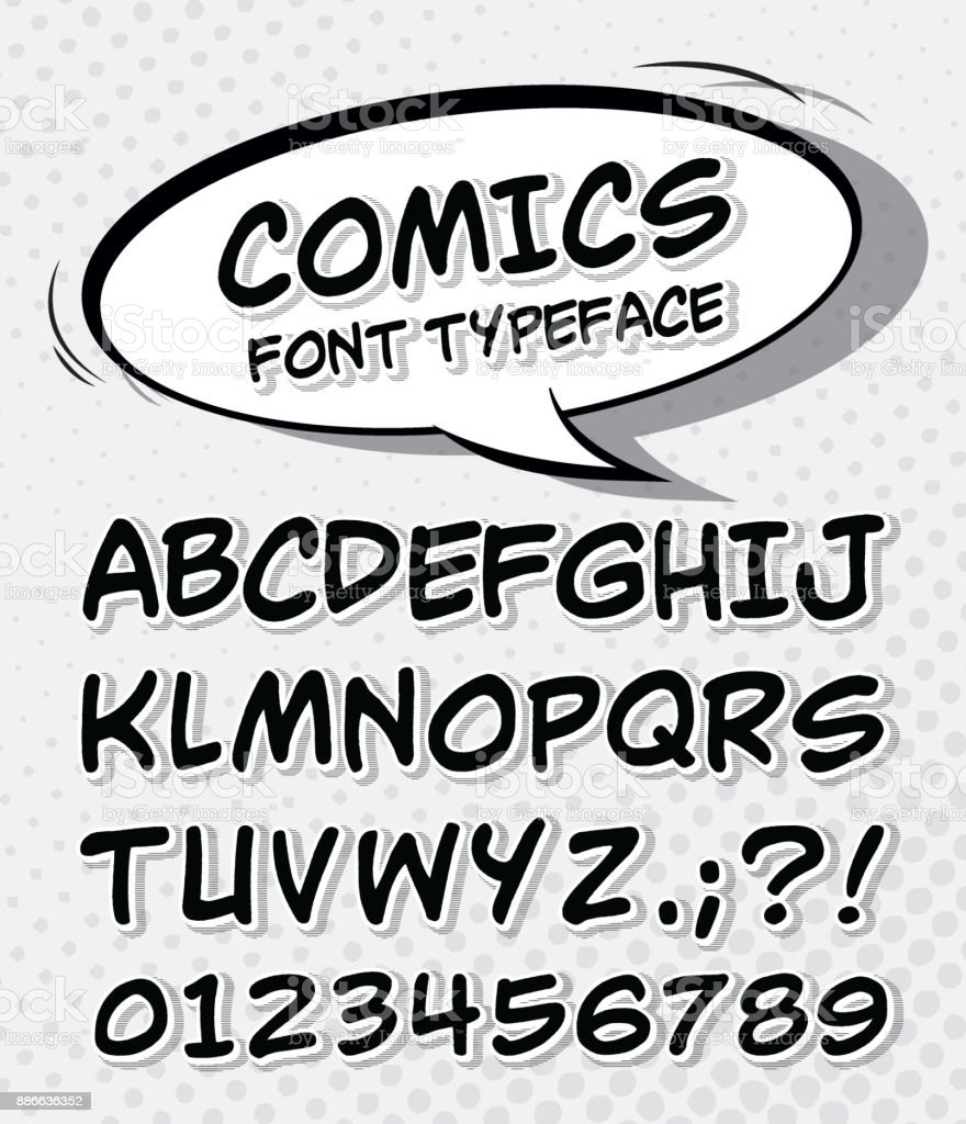 Comic font. Alphabet in style of comics, pop art vector art illustration