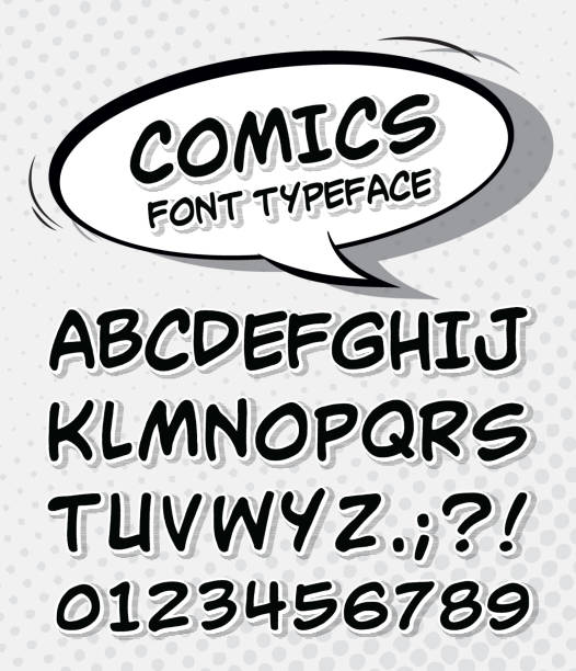 comic font alphabet in style of comics pop art vector art illustration
