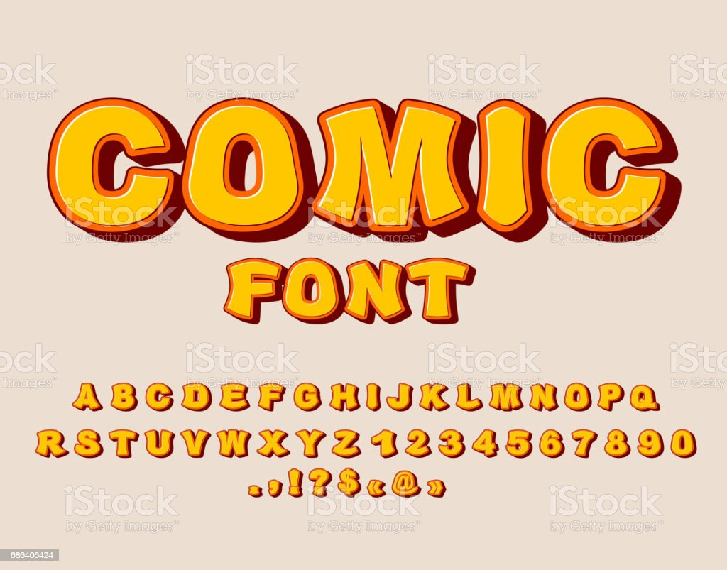 Comic Font Bang Alphabet Bright Cartoon ABC Yellow Letters Royalty Free