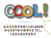 Comic font design. Funny pop art letters and numbers. Vector illustration