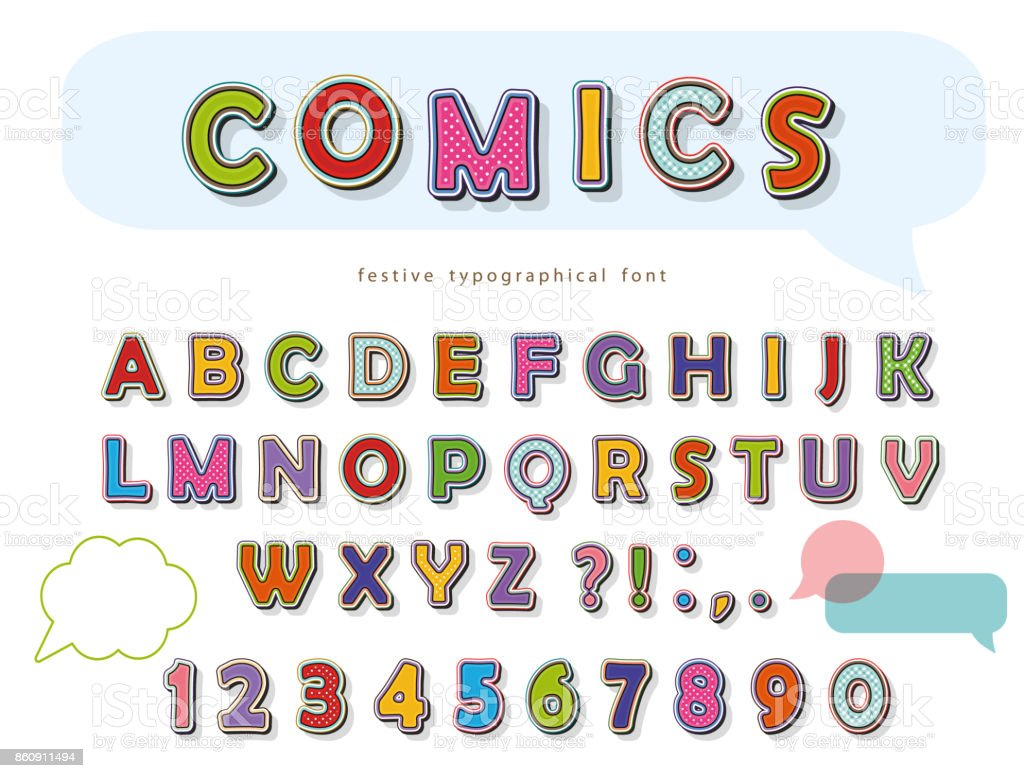 Comic font design. Funny pop art letters and numbers. Vector vector art illustration