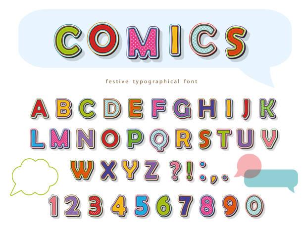 comic font design. funny pop art letters and numbers. vector - cartoon fonts stock illustrations, clip art, cartoons, & icons