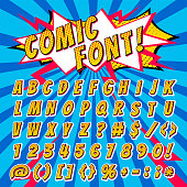 istock Comic font vector cartoon alphabet letters in pop art style and alphabetic text icons for typography illustration alphabetically typeset of abc and numbers on popart background 944076940
