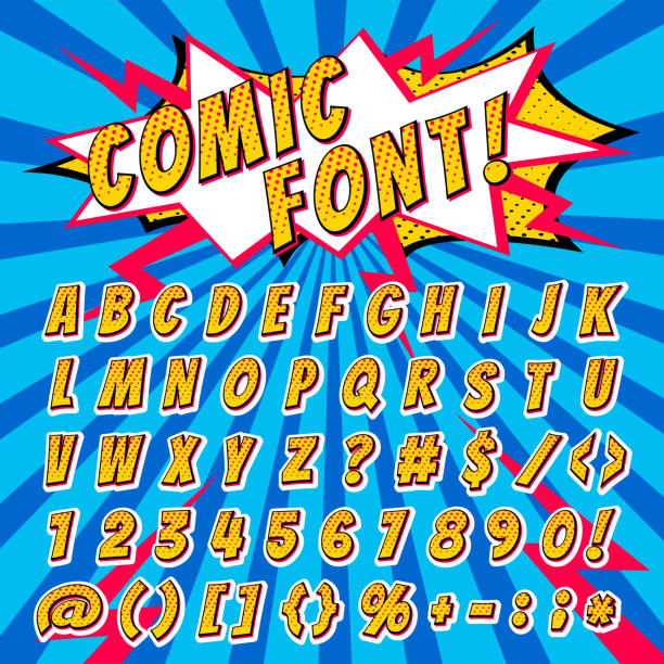 Comic font vector cartoon alphabet letters in pop art style and alphabetic text icons for typography illustration alphabetically typeset of abc and numbers on popart background vector art illustration