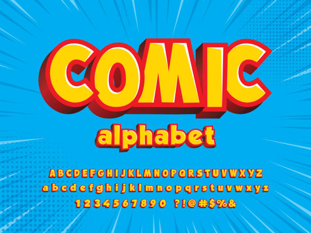 illustrations, cliparts, dessins animés et icônes de police comique - polices de bande dessinée