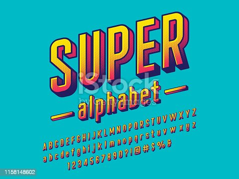 comical halftone style alphabet design