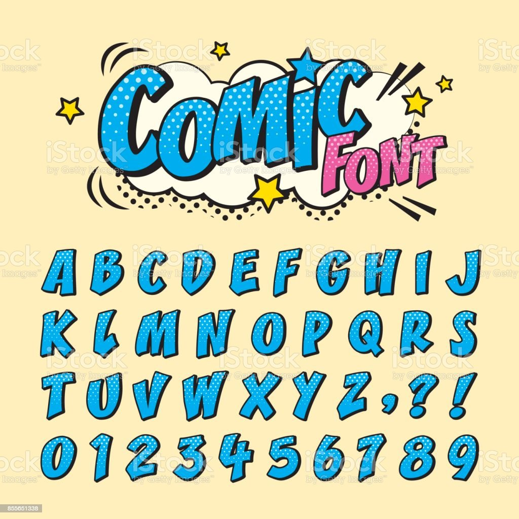 comic font_blue vector art illustration