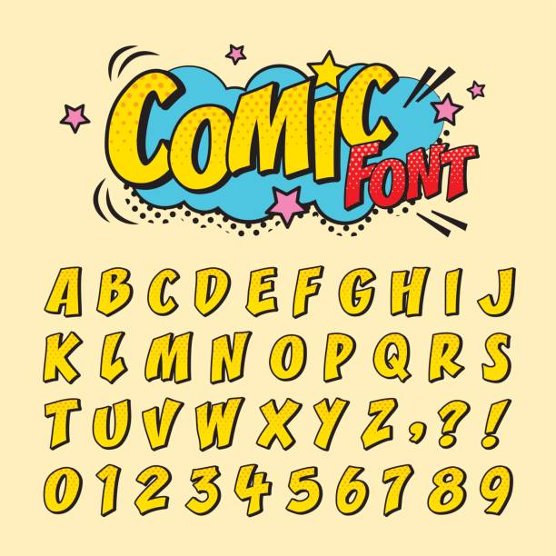 comic font_yellow vector art illustration