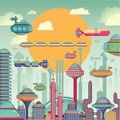 Comic futuristic city.