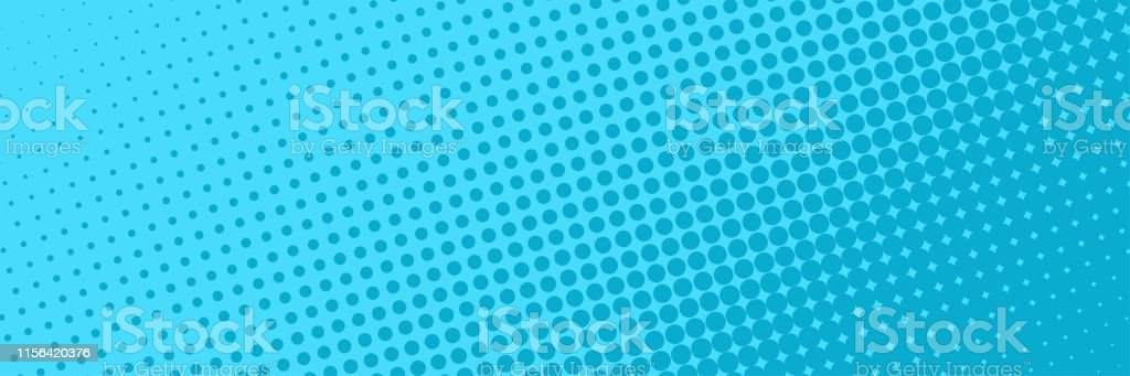 Comic halftone dots background blue color. Comic background. Halftone...