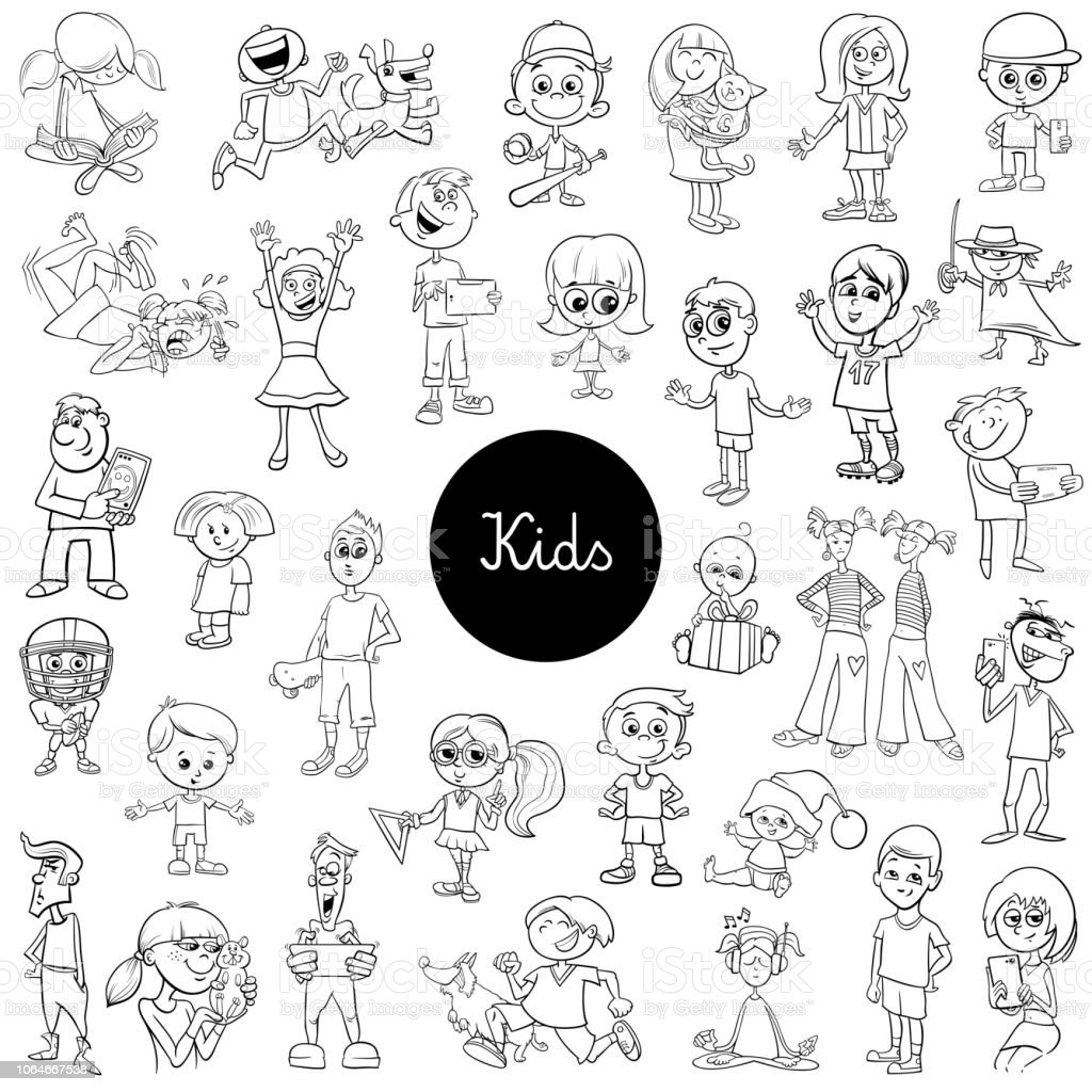 comic kids characters black and white set vector art illustration