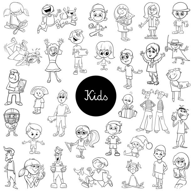 comic kids characters black and white set - caricatures stock illustrations, clip art, cartoons, & icons