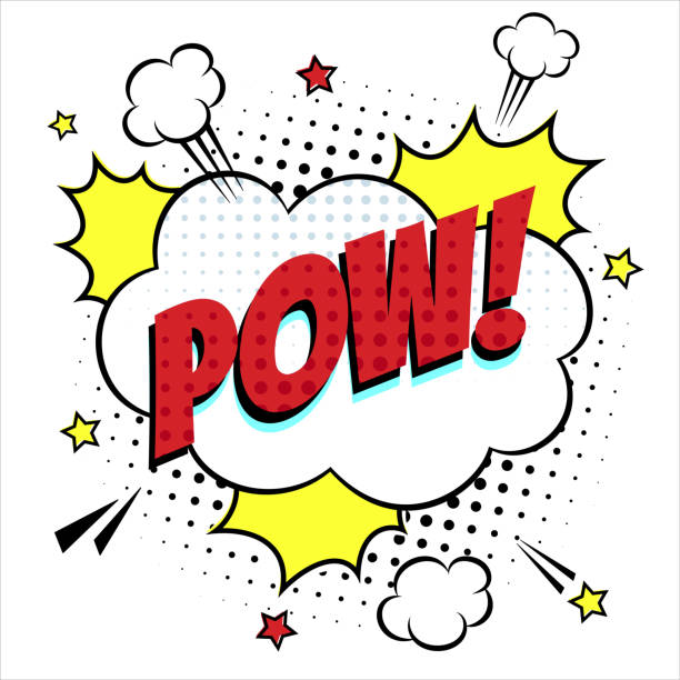 comic lettering speech bubble for emotion with text pow comic style flat design. dynamic pop art illustration isolated on white background. - comic book stock illustrations