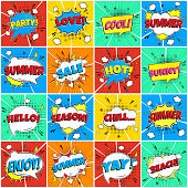 16 Comic Lettering Summer In The Speech Bubbles Comic Flat Design Set. Dynamic Pop Art Vector Illustration Isolated On Rays Background. Exclamation Concept Of Comic Book Style Pop Art Voice Phrase.