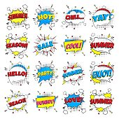 16 Comic Lettering Summer In The Speech Bubbles Comic Style Flat Design. Dynamic Pop Art Vector Illustration Isolated On White Background. Exclamation Concept Of Comic Book Style Pop Art Voice Phrase.