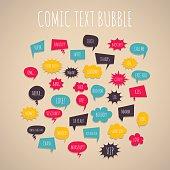 Big set colored hand drawn cartoon comic text speech bubbles. Comic book background style pop art. Comic letters dialog cloud text pop art. Creative idea conversation comic font sketch explosion
