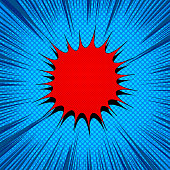 Comic light explosive template with blank red speech bubble halftone and rays effects on blue background. Vector illustration