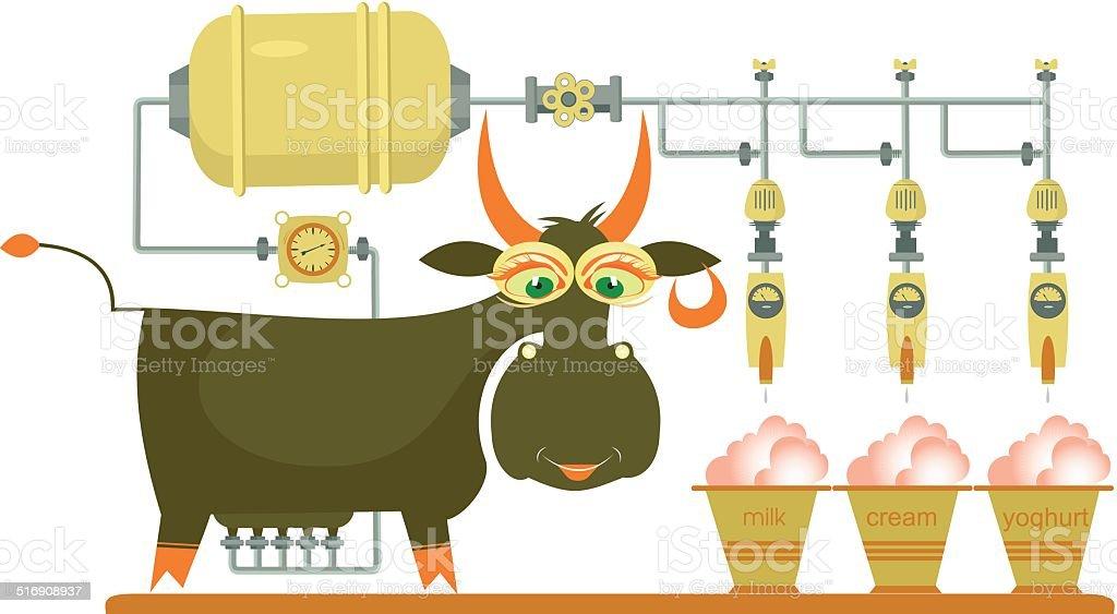 Comic milk farm and cow illustration vector art illustration