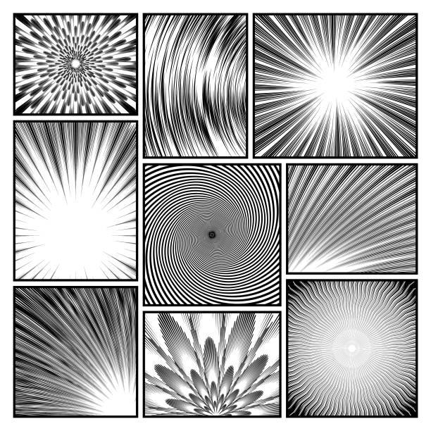 comic or manga background effect set vector art illustration