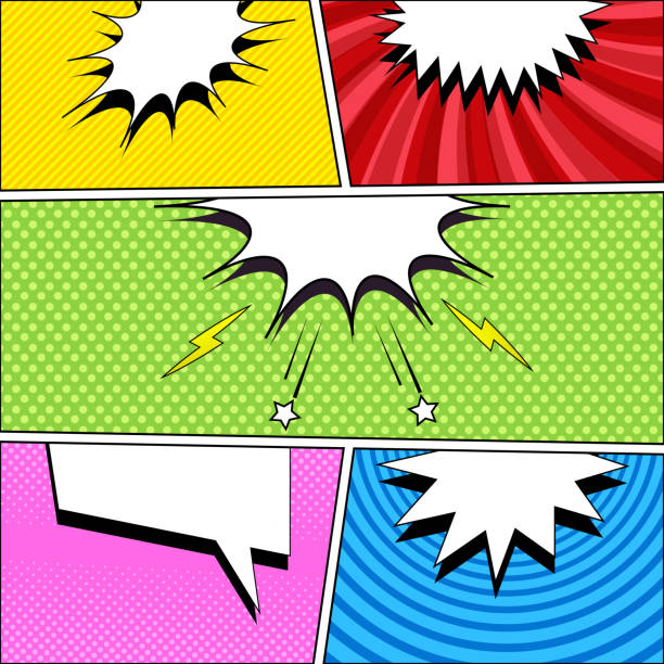 漫画のページ本明るいテンプレート - 漫画の風景点のイラスト素材/クリップアート素材/マンガ素材/アイコン素材