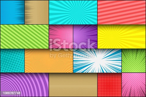 Comic page book colorful template with halftone radial stripes dotted circles rays humor effects. Vector illustration