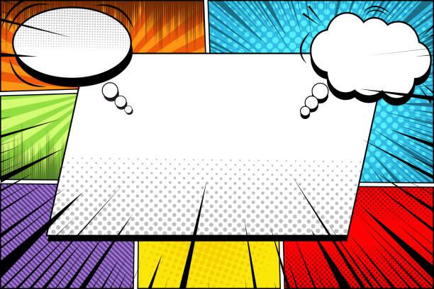 bildbanksillustrationer, clip art samt tecknat material och ikoner med tecknad sida ljusa mallen - serier