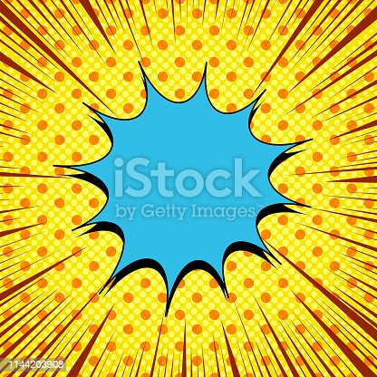 Comic page bright template with blue speech bubble dotted halftone and rays humor effects on yellow background. Vector illustration