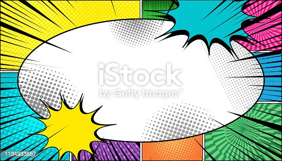 Comic page light concept with blank big white speech bubble colorful clouds explosive black rays and humor effects. Vector illustration