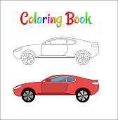 Comic racing car background vector illustration coloring page for kids. Auto traffic and speed. Automobile racing car.