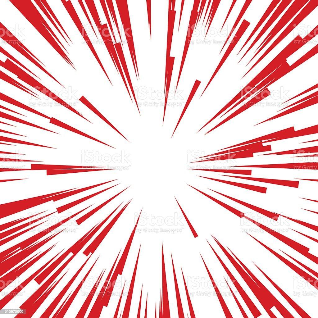 Comic Radial Speed Lines. Graphic Explosion Book Design Element. Vector vector art illustration