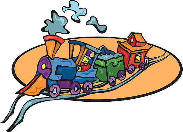 Comic Railroad Train heads offtrack vector art illustration
