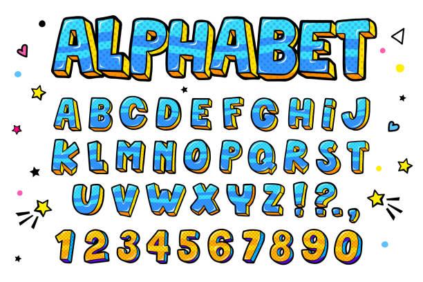 ilustrações de stock, clip art, desenhos animados e ícones de comic retro letters set. alphabet letters and numbers in style of comics, pop art - músico popular