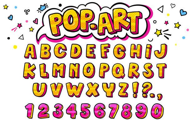 comic-retro-buchstaben gesetzt. alphabet buchstaben und zahlen im stil von comics - comic font stock-grafiken, -clipart, -cartoons und -symbole